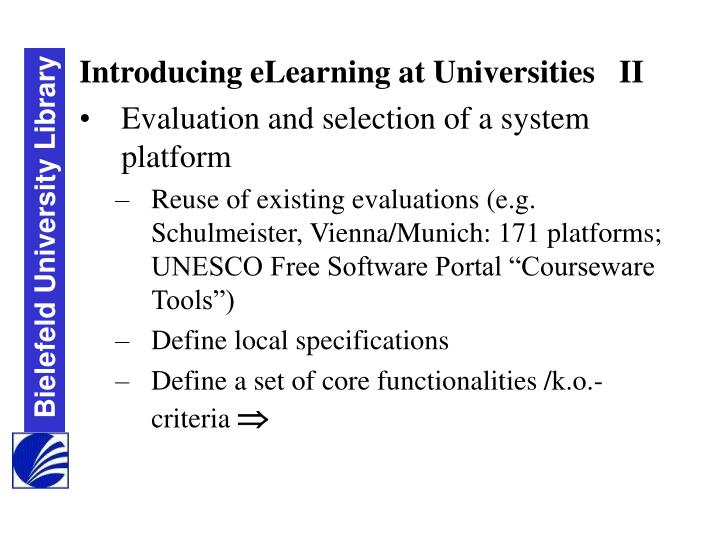 Introducing eLearning at Universities   II