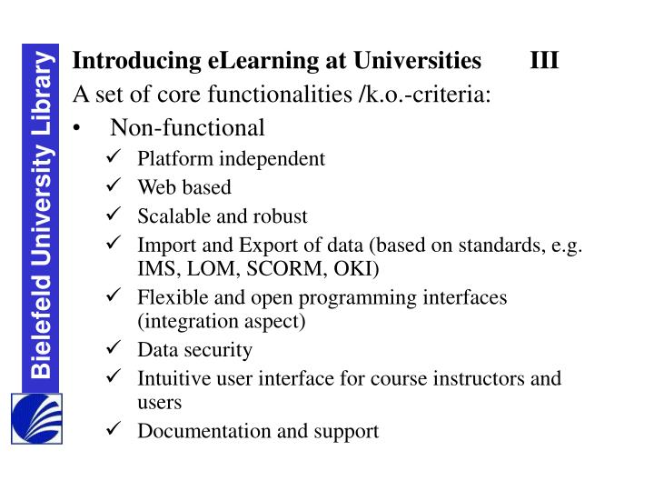 Introducing eLearning at UniversitiesIII