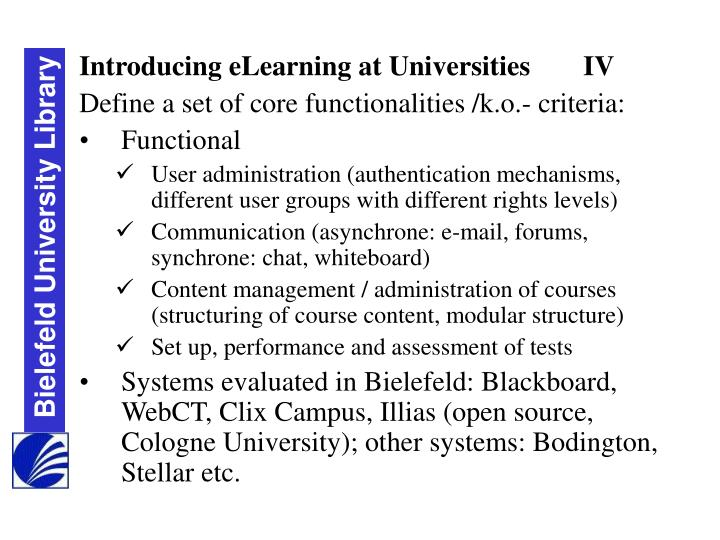 Introducing eLearning at Universities	IV