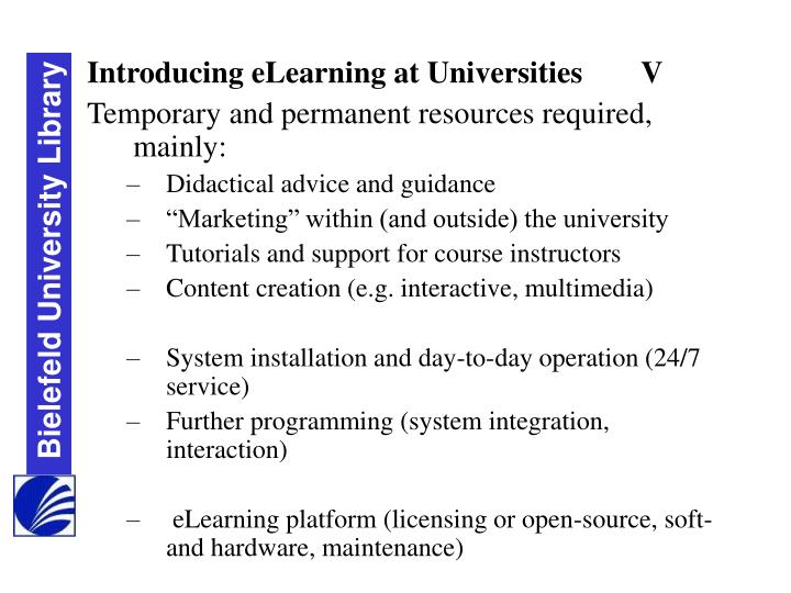 Introducing eLearning at Universities	V