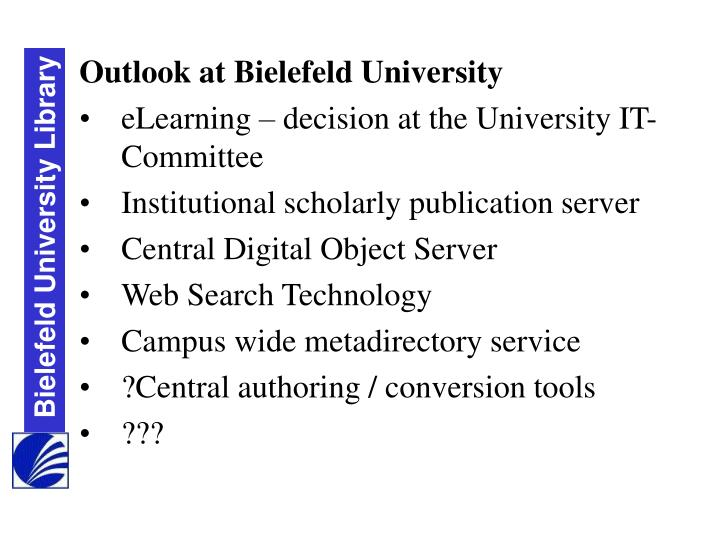 Outlook at Bielefeld University