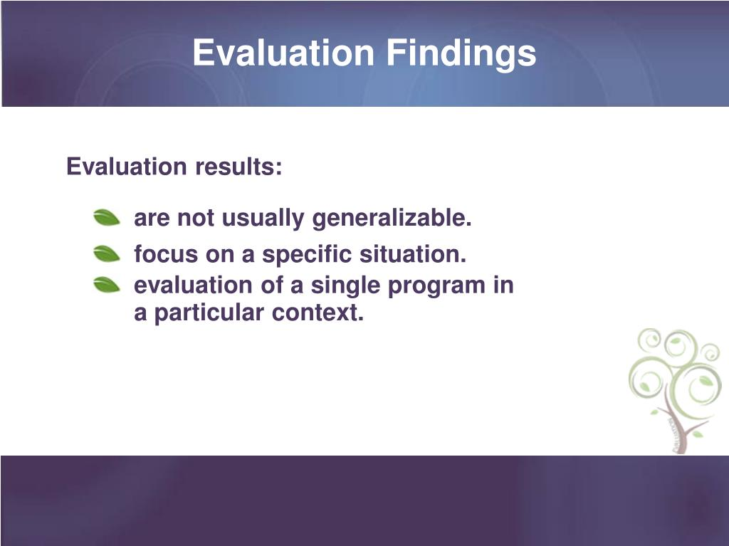 Evaluation Findings
