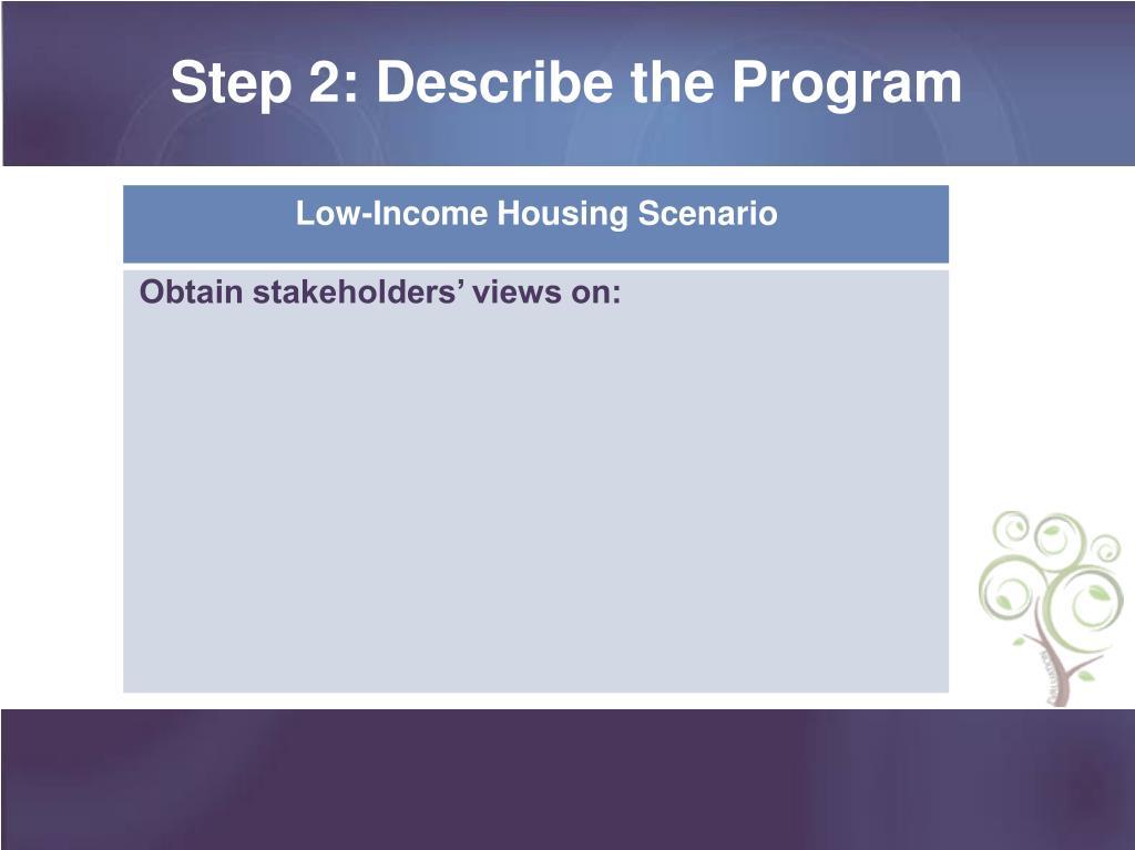 Step 2: Describe the Program