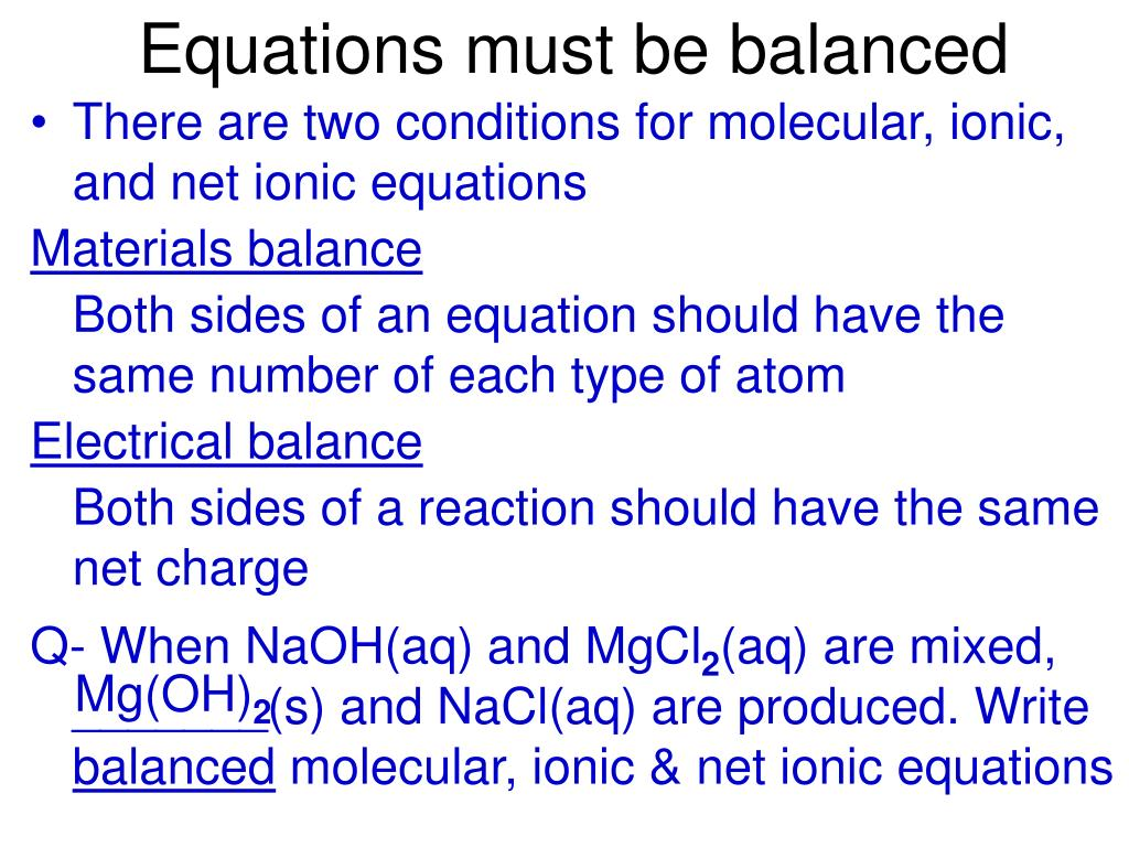 Equations must be balanced