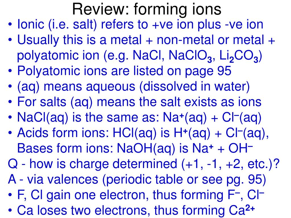 Review: forming ions