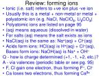 review forming ions