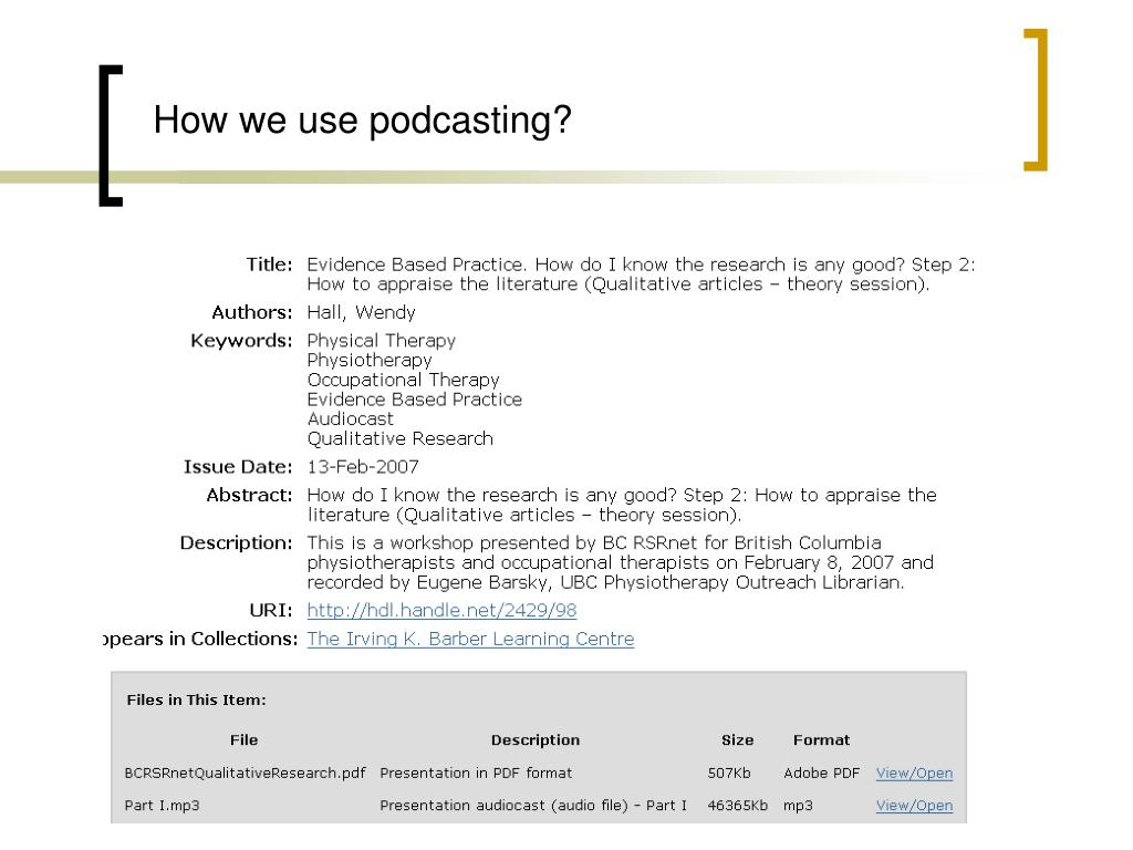 How we use podcasting?