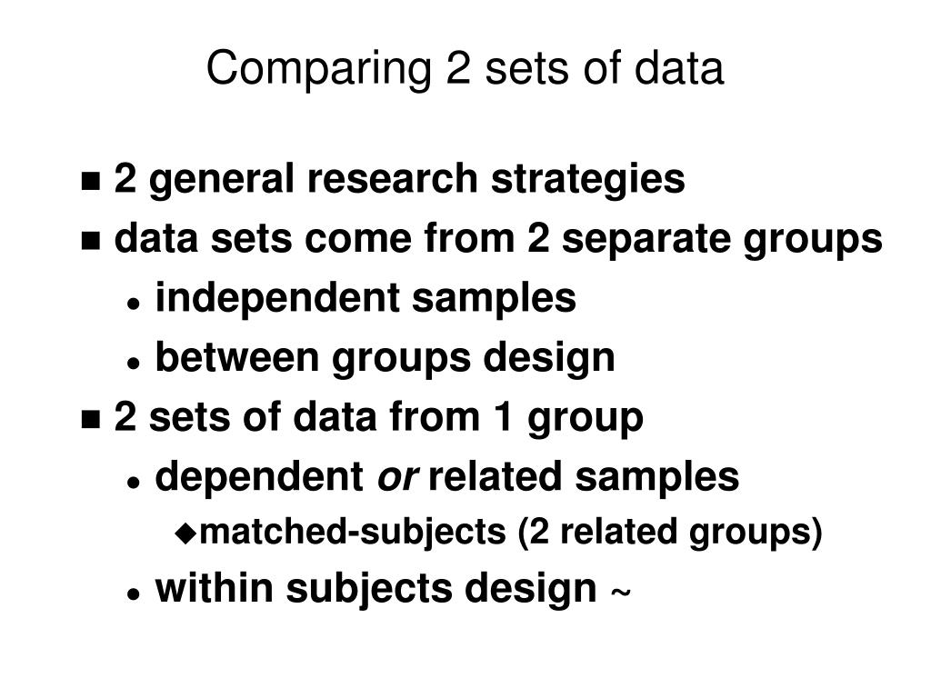 Comparing 2 sets of data