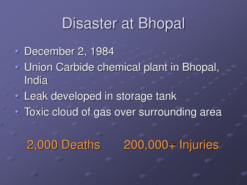 Disaster at Bhopal