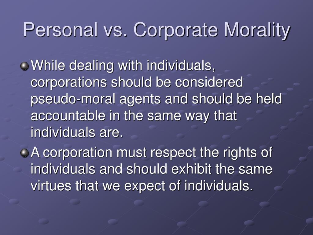 Personal vs. Corporate Morality