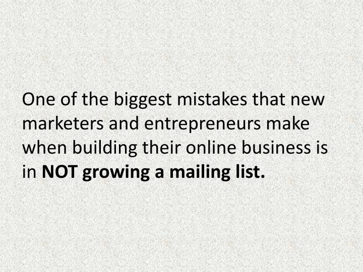 One of the biggest mistakes that new marketers and entrepreneurs make when building their online bus...