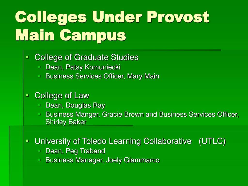 Colleges Under Provost Main Campus