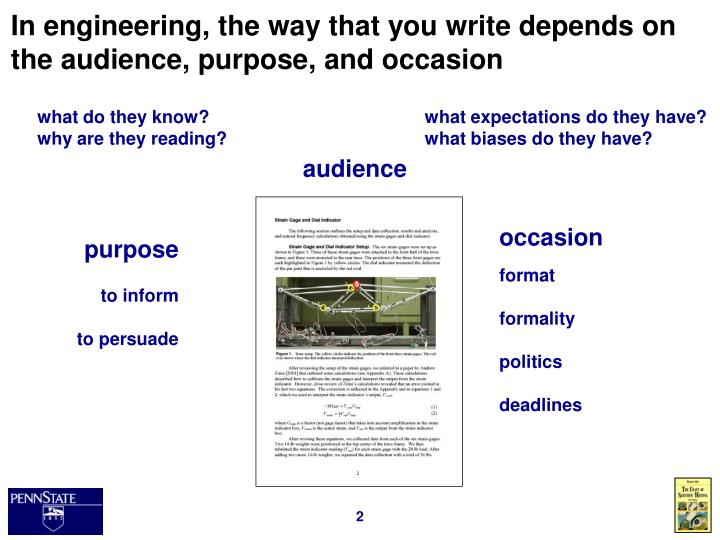In engineering the way that you write depends on the audience purpose and occasion