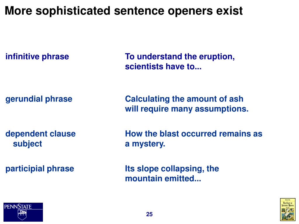 More sophisticated sentence openers exist