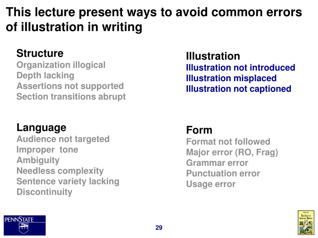 This lecture present ways to avoid common errors of illustration in writing