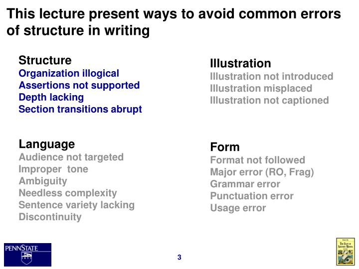 This lecture present ways to avoid common errors of structure in writing