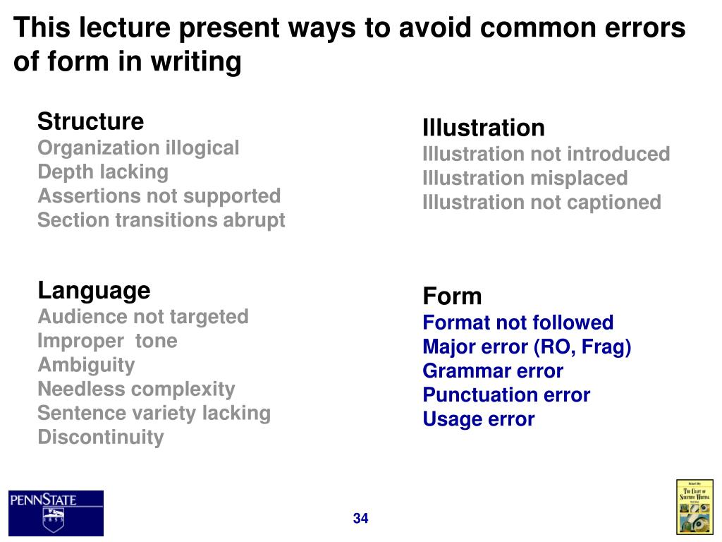 This lecture present ways to avoid common errors of form in writing