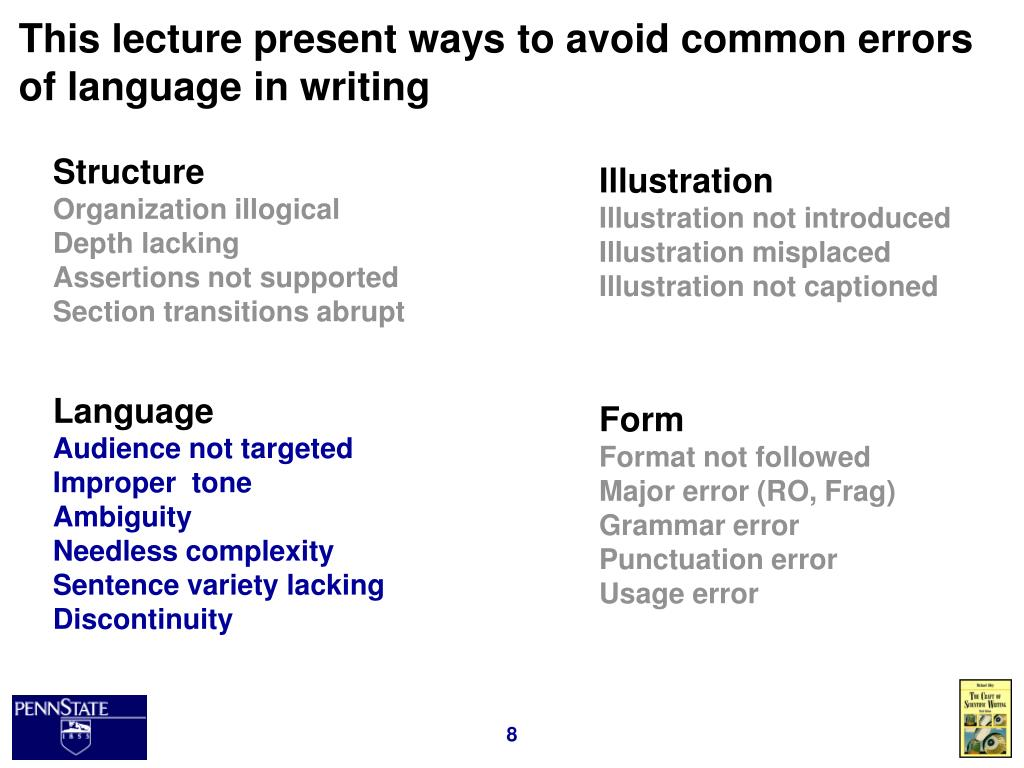 This lecture present ways to avoid common errors of language in writing