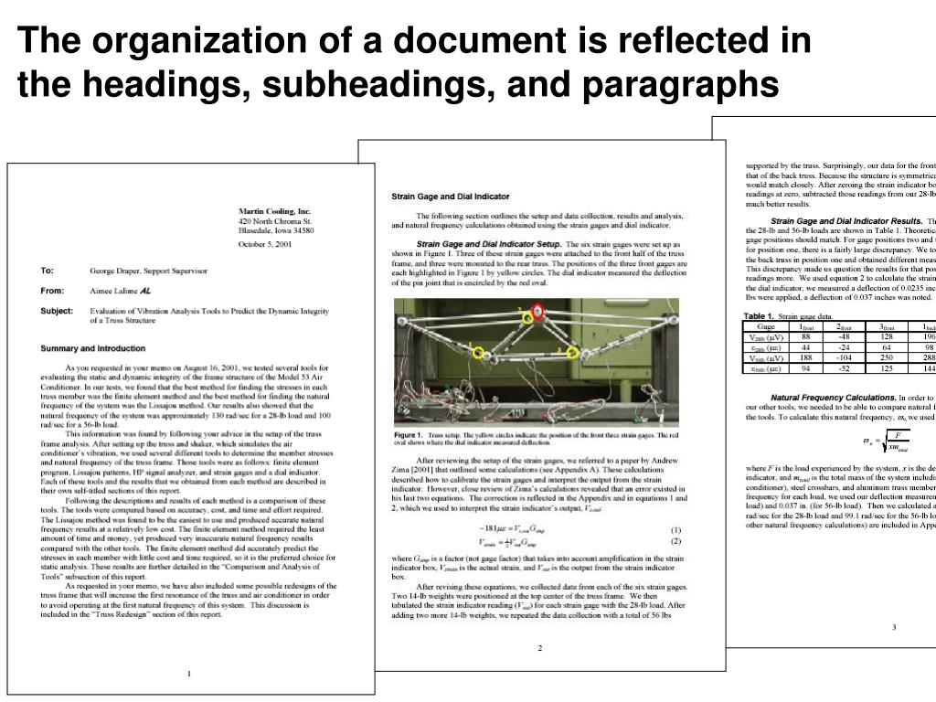 The organization of a document is reflected in the headings, subheadings, and paragraphs
