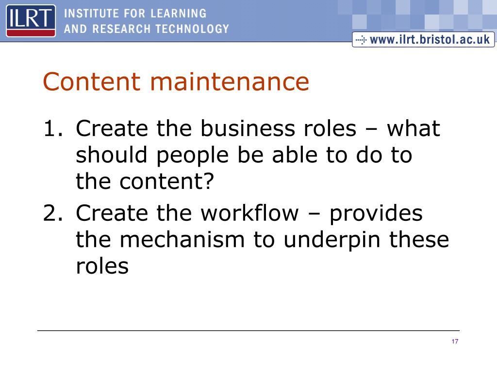 Content maintenance