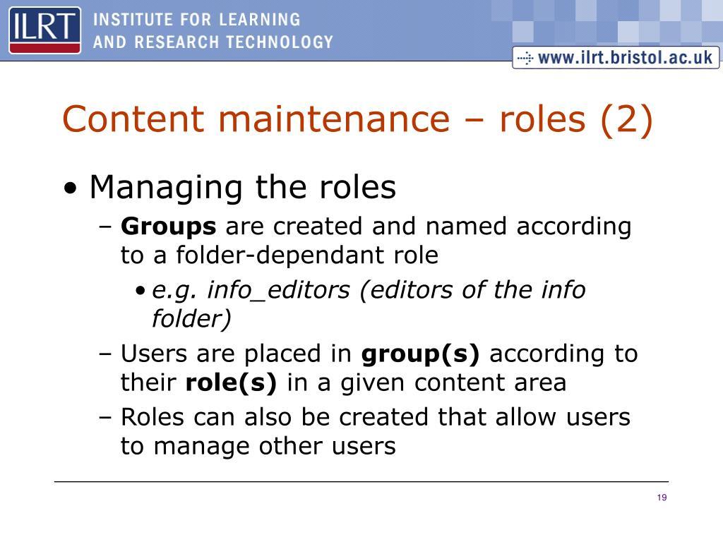 Content maintenance – roles (2)