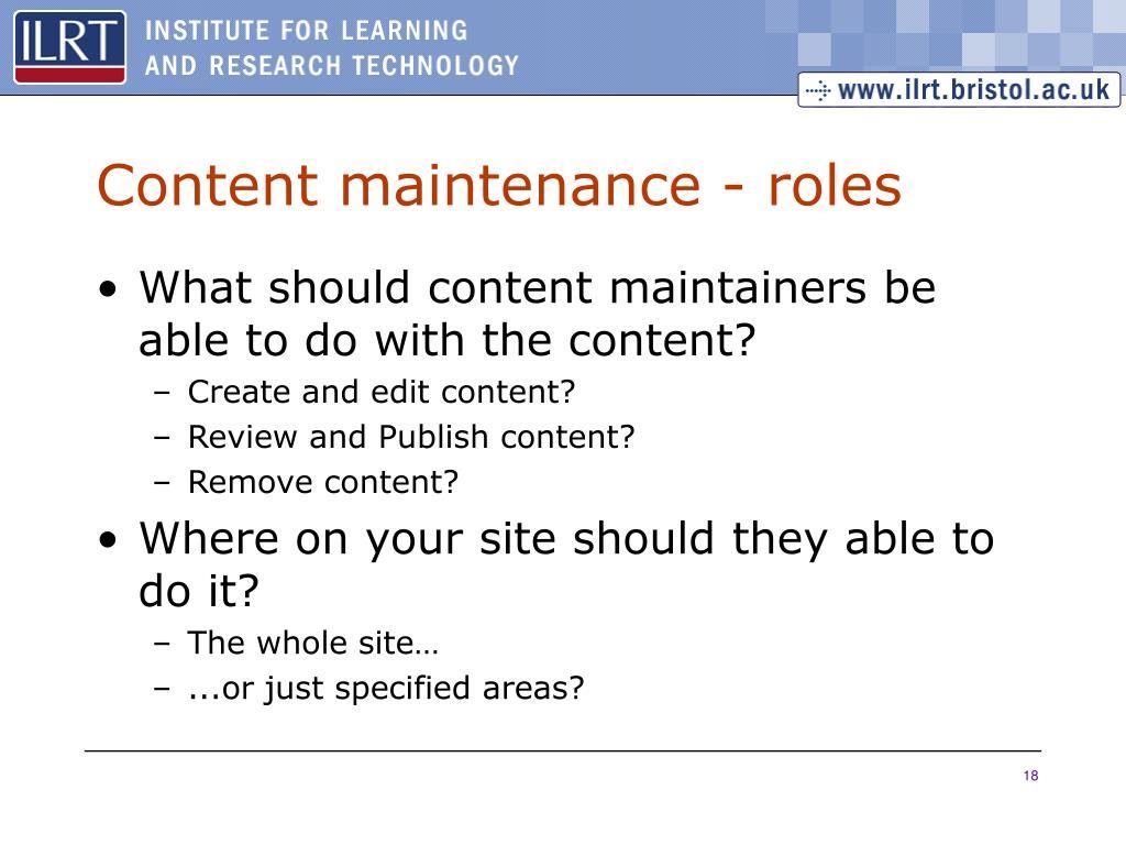 Content maintenance - roles