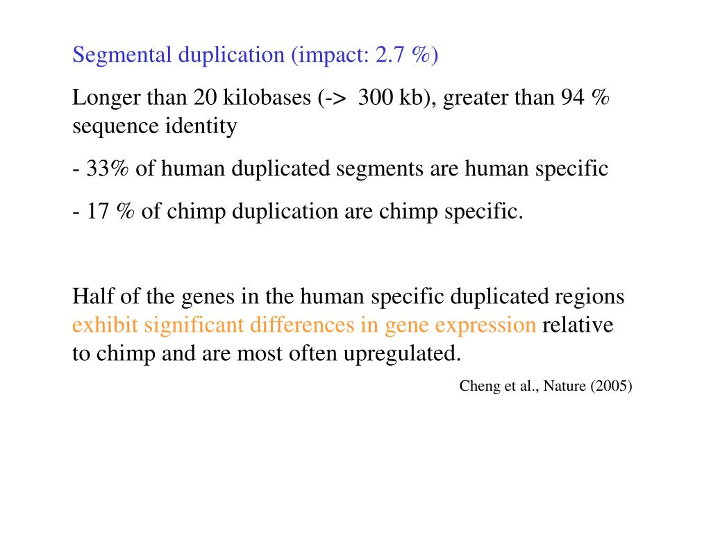 Segmental duplication (impact: 2.7 %)