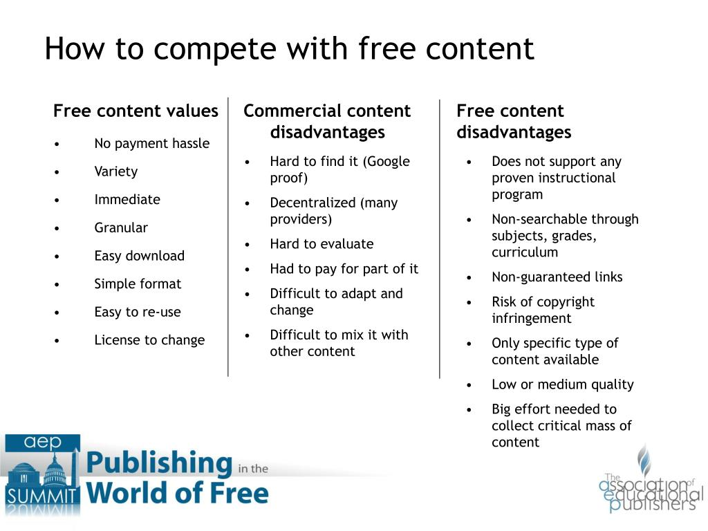 Free content values
