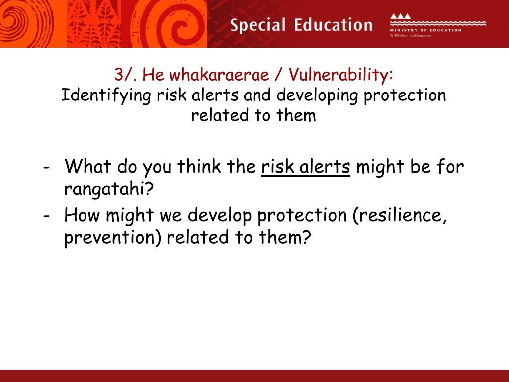 3/. He whakaraerae / Vulnerability: