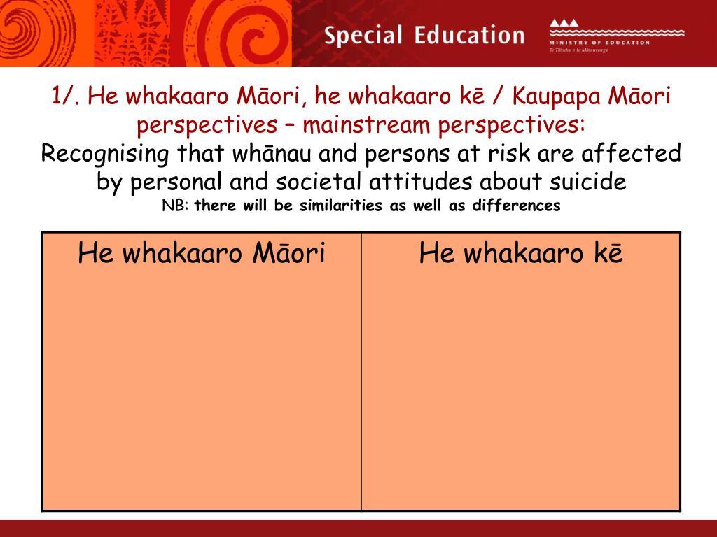 1/. He whakaaro Māori, he whakaaro kē / Kaupapa Māori perspectives – mainstream perspectives: