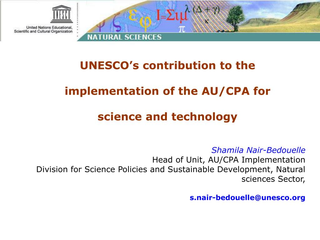 UNESCO's contribution to the