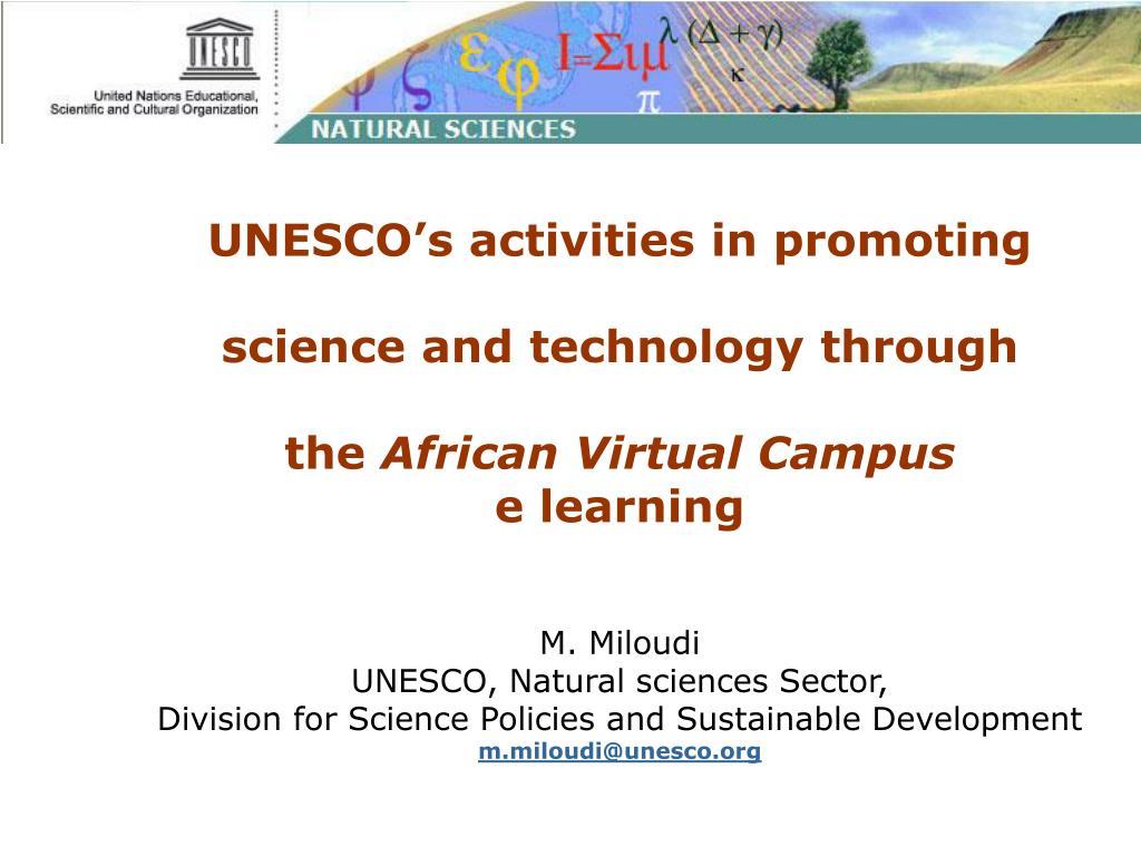 UNESCO's activities in promoting