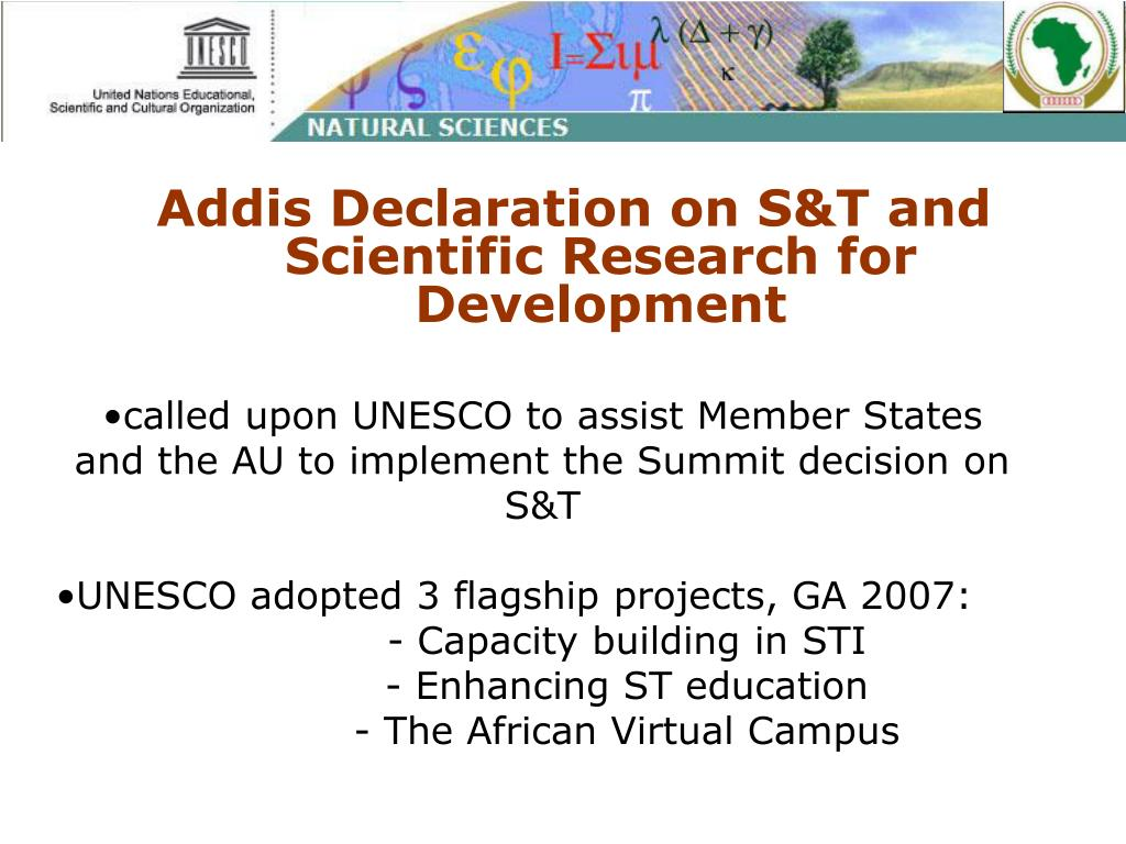 Addis Declaration on S&T and Scientific Research for Development