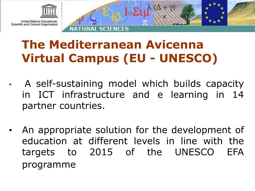 The Mediterranean Avicenna Virtual Campus (EU - UNESCO)