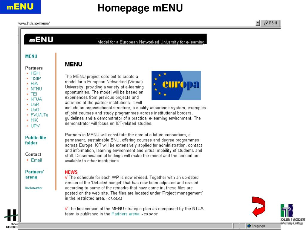 Homepage mENU