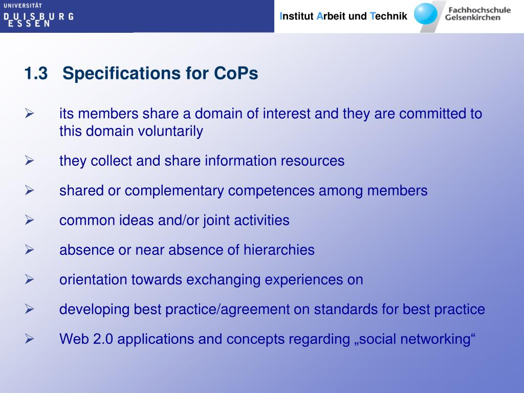 1.3   Specifications for CoPs