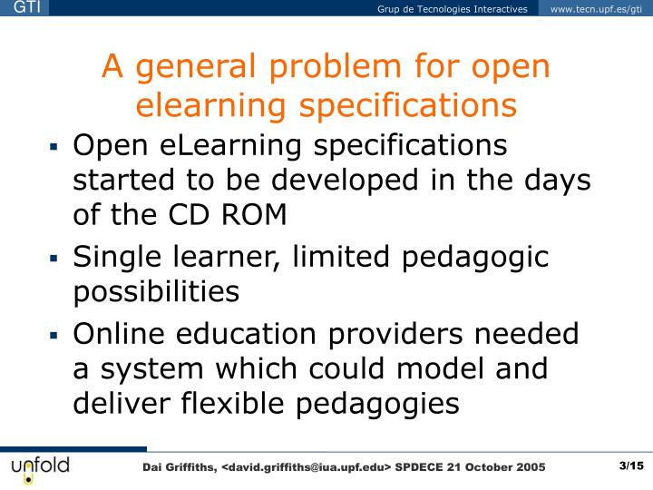 A general problem for open elearning specifications