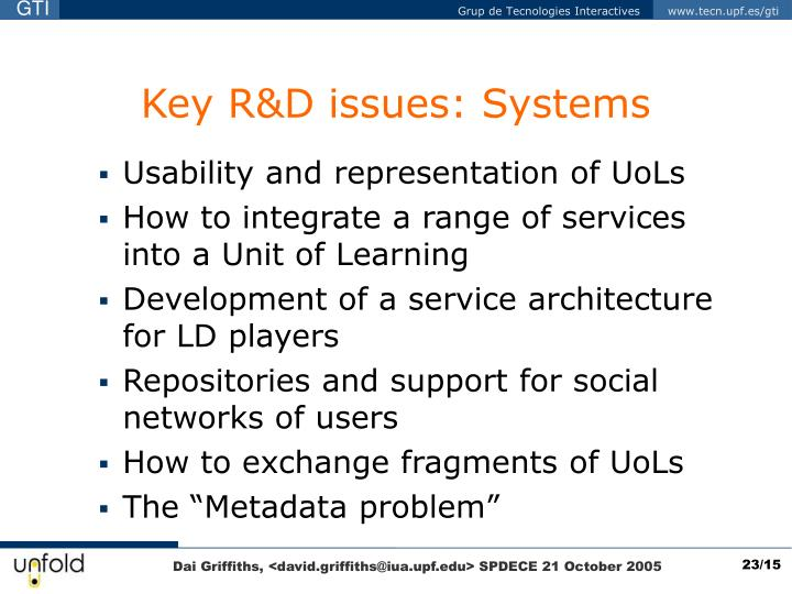 Key R&D issues: Systems