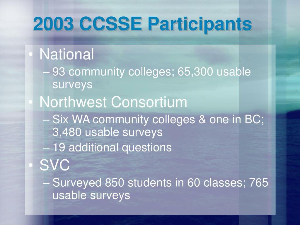 2003 CCSSE Participants