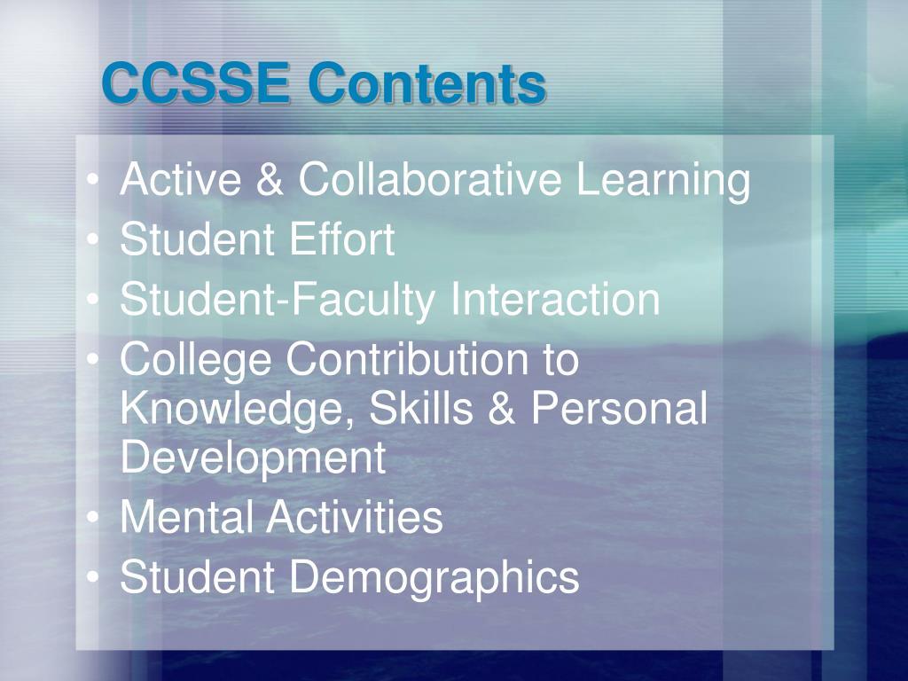 CCSSE Contents