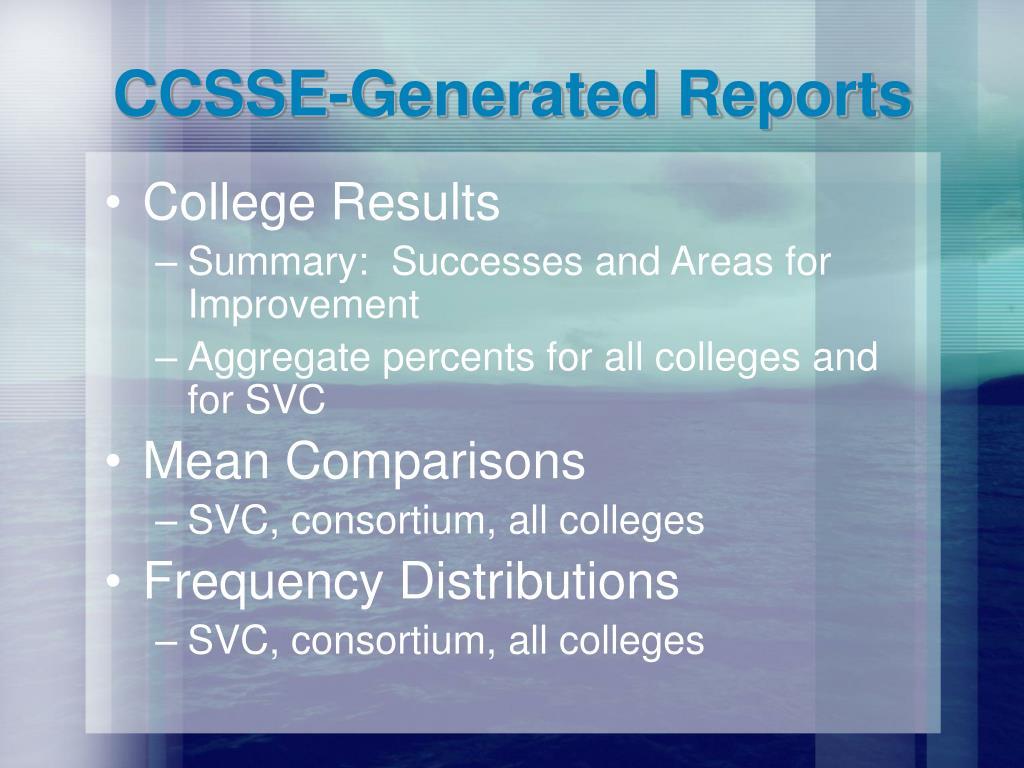 CCSSE-Generated Reports