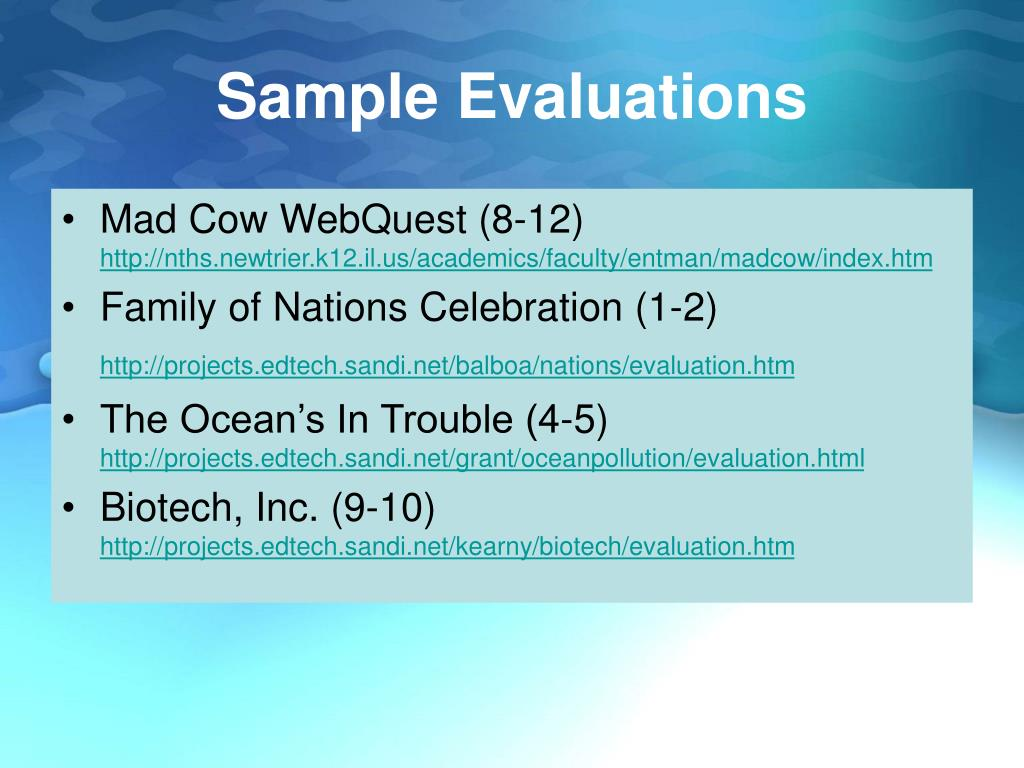 Sample Evaluations