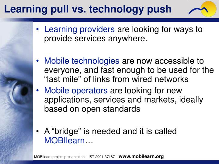 Learning pull vs. technology push