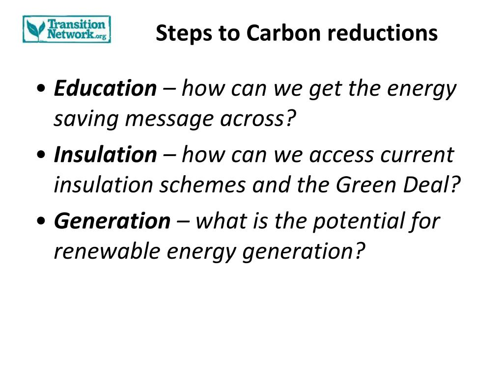 Steps to Carbon reductions