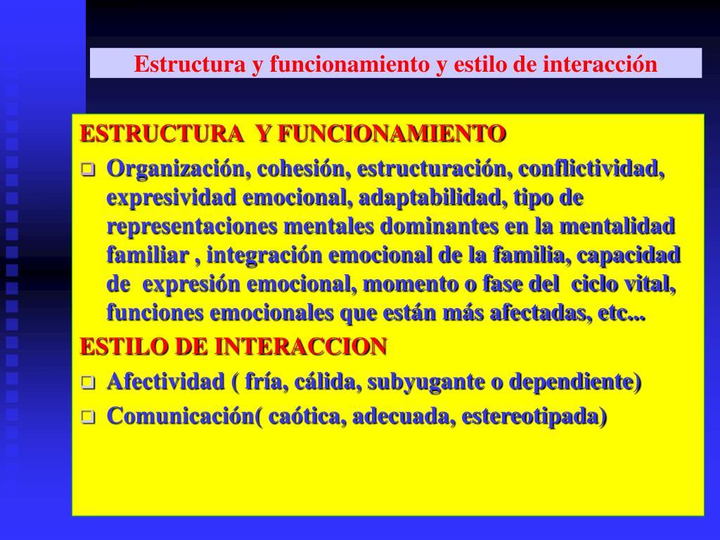 Estructura y funcionamiento y estilo de interacción