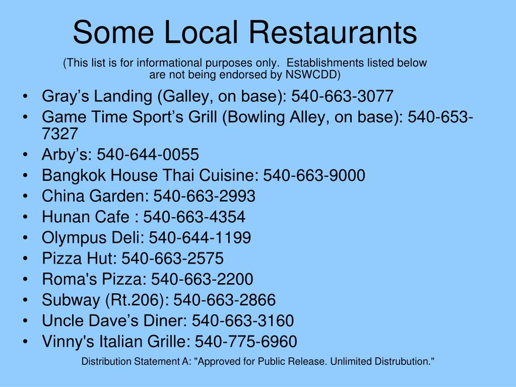Some Local Restaurants