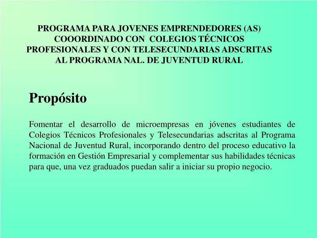 PROGRAMA PARA JOVENES EMPRENDEDORES (AS) COOORDINADO CON  COLEGIOS TÉCNICOS PROFESIONALES Y CON TELESECUNDARIAS ADSCRITAS AL PROGRAMA NAL. DE JUVENTUD RURAL
