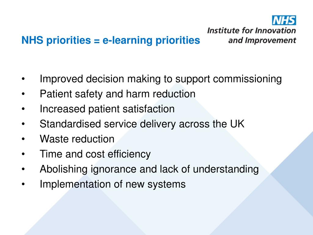 Improved decision making to support commissioning