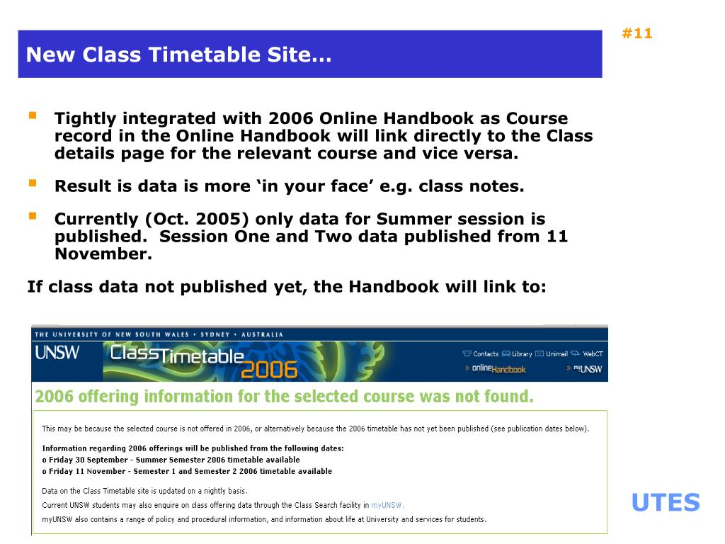 New Class Timetable Site…
