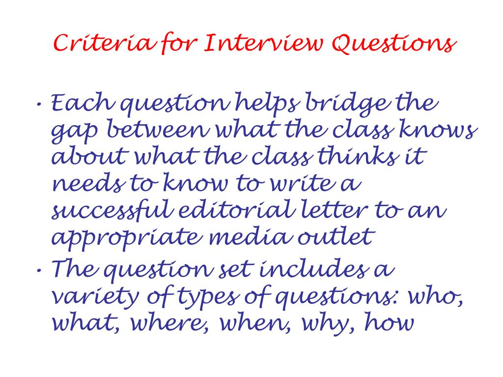 Criteria for Interview Questions